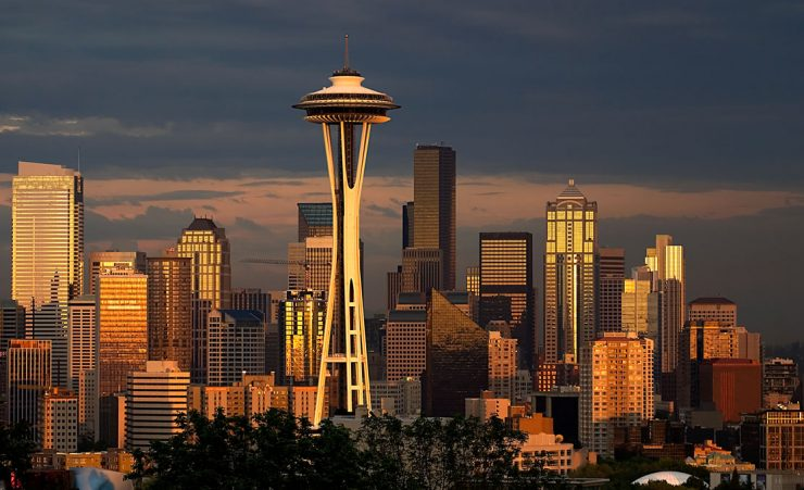 Seattle skyline with warm evening light