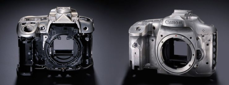 Magnesium Alloy construction of the Nikon D7000 (left) and Canon 7D (right) bodies.