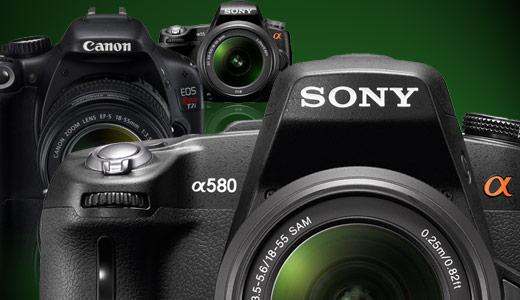 Comparison of Canon t2i, Sony a580, and Sony a55