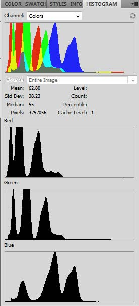 Separate color channel histograms in Photoshop