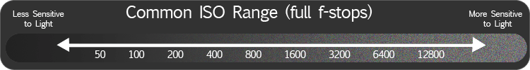 Common ISO range with noise indication