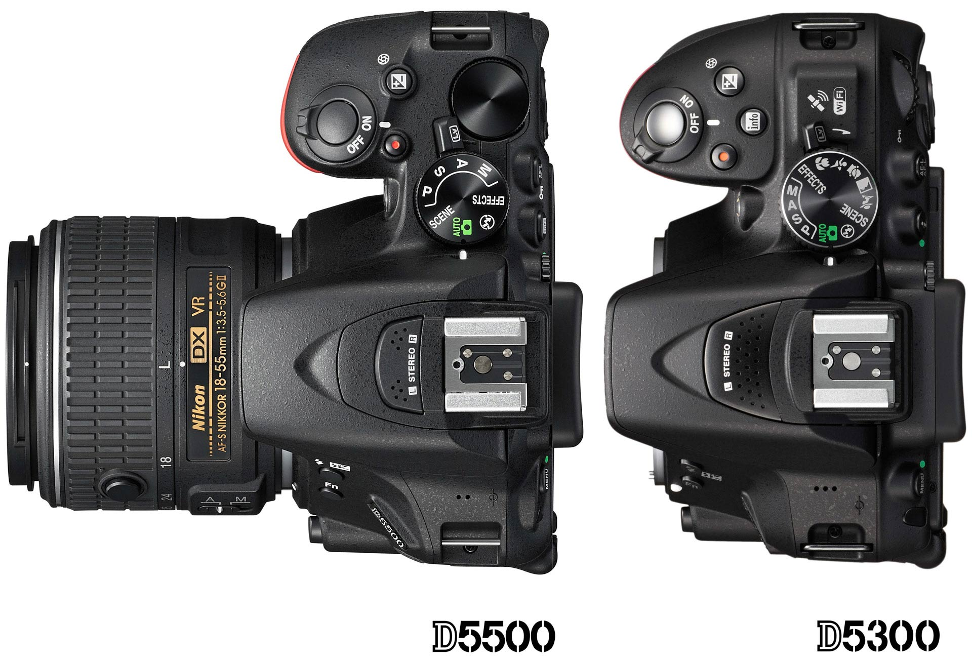 The Nikon D5500, left, is slightly smaller than the D5300, and about 60g lighter.