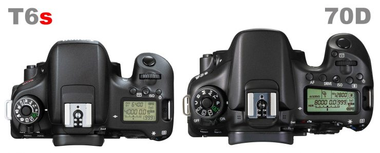 Canon T6s and Canon 70D, top view