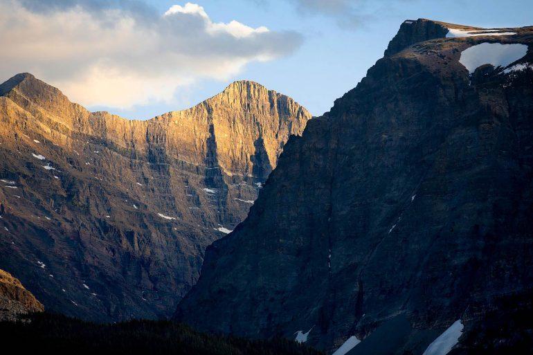 Mountain peaks above Lake Sherburne, MT