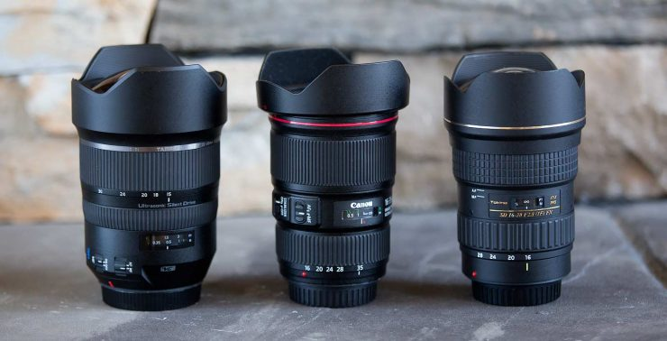 The three lenses used in the video, from left to right: Tamron 15-30 f/2.8, Canon 16-35 f/4, Tokina 16-28 f/2.8