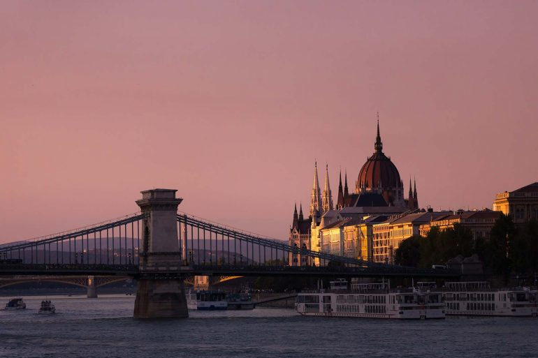 Budapest Parliament building at sunset