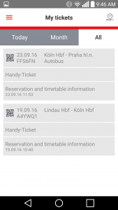 A couple of my tickets listed in the German train app (DB)