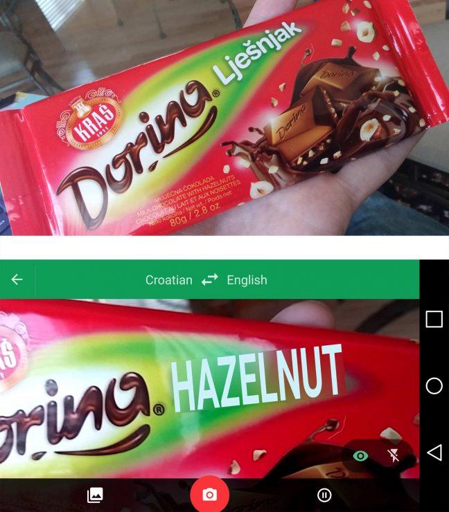 google translate example photo with hazelnut