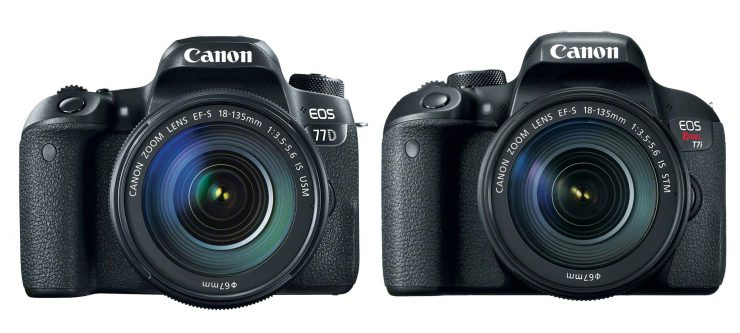 The Canon 77D and T7i bodies with 18-135mm IS STM lenses attached.