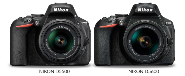 The Nikon D5500 and D5600 side by side, front view
