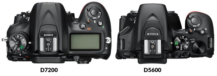 Top view of Nikon D7200 and D5600
