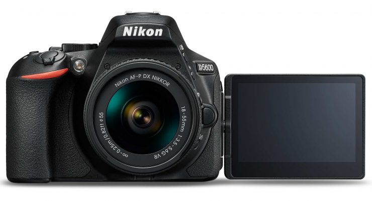 The Nikon D5600 with swivel screen extended