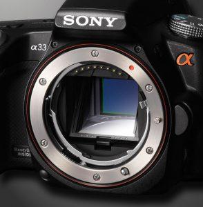 Sony Alpha a33 fixed pellicle mirror.
