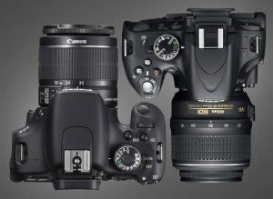Overhead View of Canon T3i and Nikon D5100