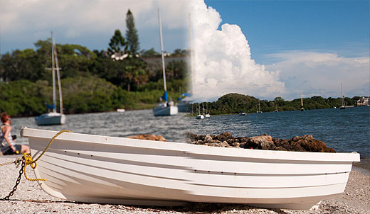 composite image of boat from wide angle and telephoto lenses