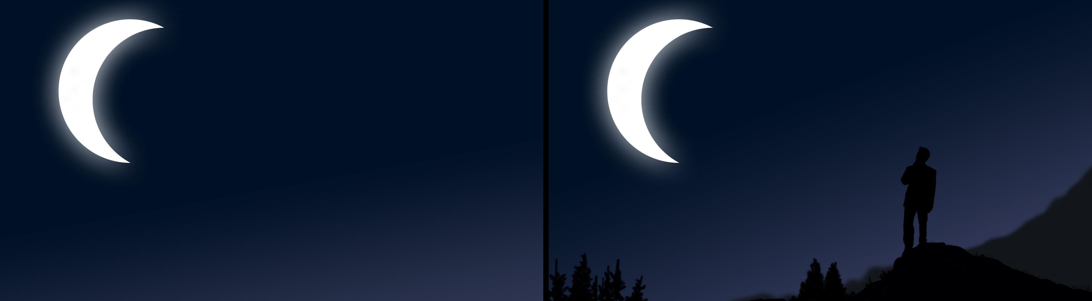 illustrations of photos with moon in background