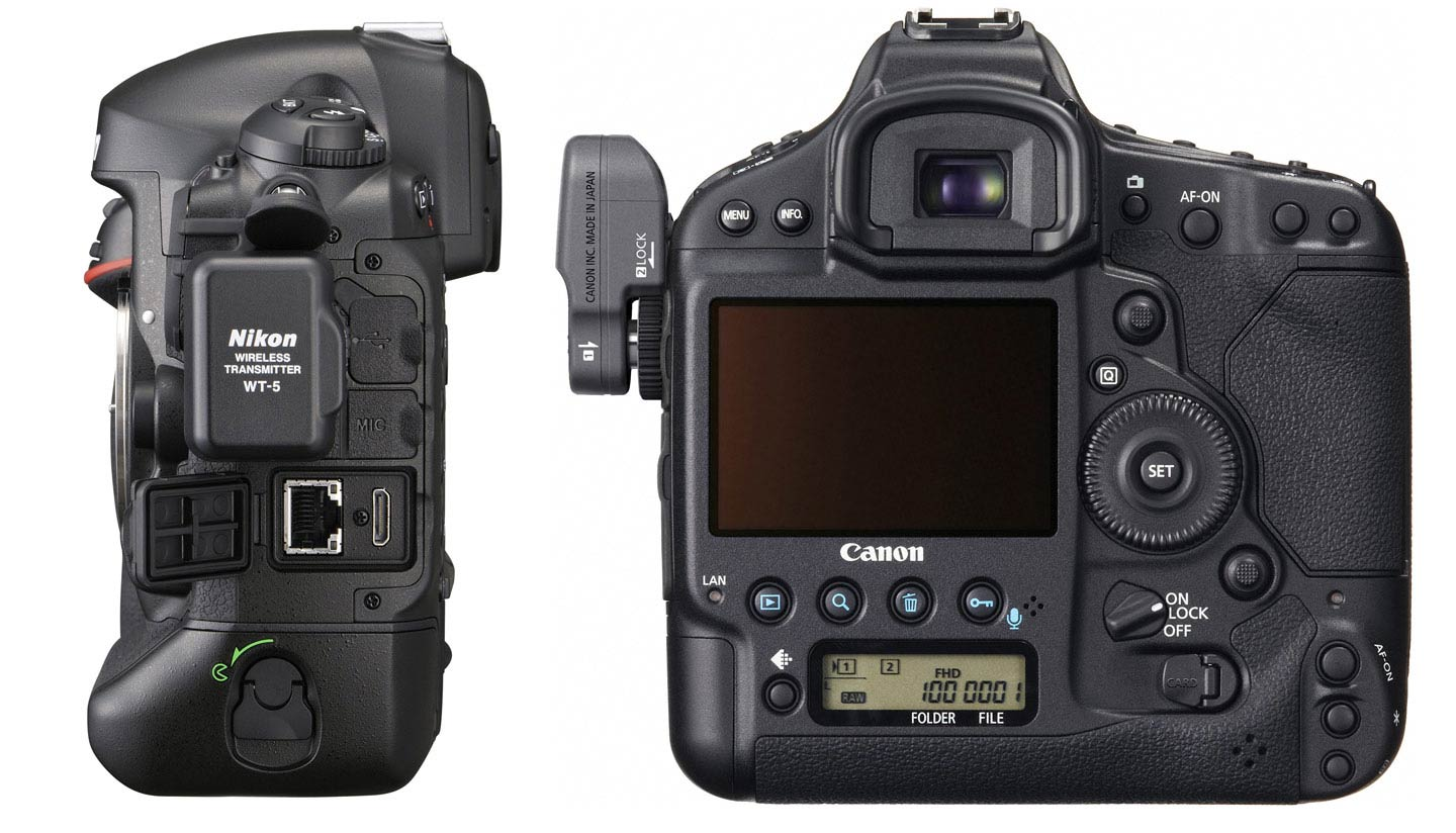 Nikon D4 and Canon 1DX with wireless modules attached.