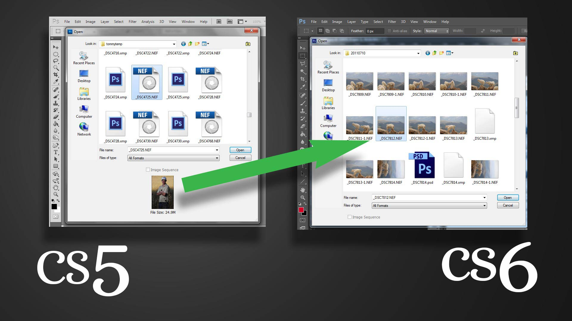Photoshop CS6 Open File Dialog
