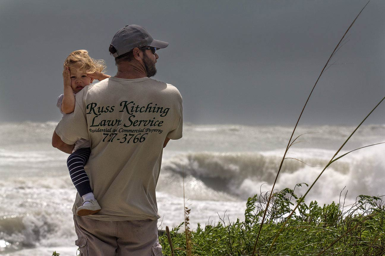 Father and Daughter watch Tropical Storm Debbie, Anna Maria Island