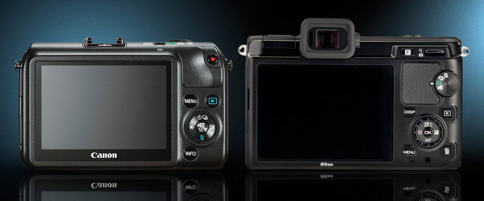 Back View, Canon EOS M and Nikon 1 V1