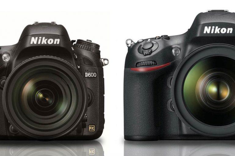 Size comparison of Nikon D600 and Nikon D800.