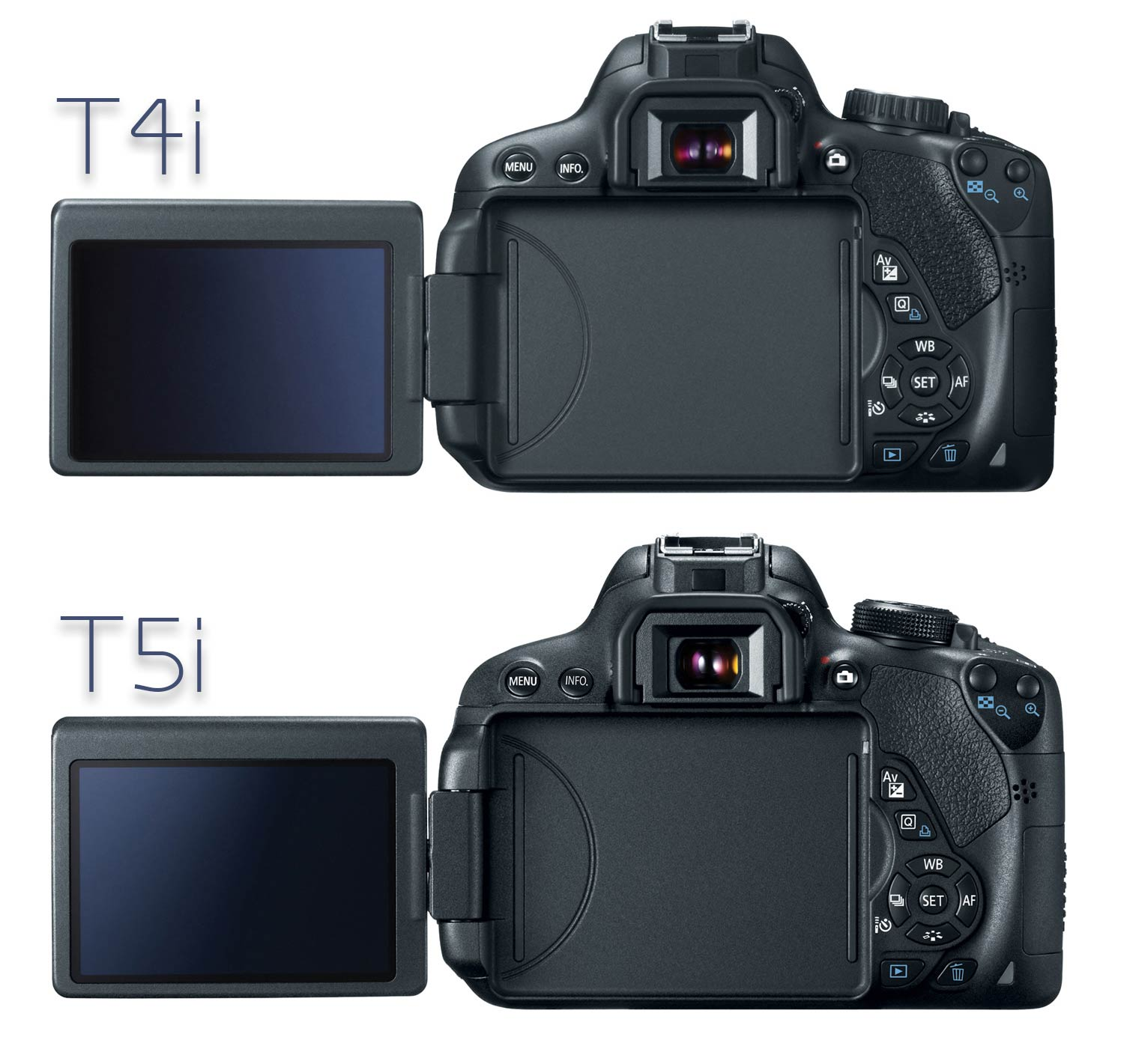 Canon T4i and T5i, back view