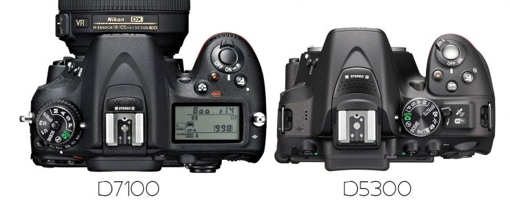 Nikon D7100 and D5300, overhead view