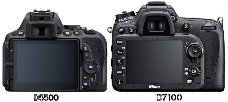 Nikon D5500 vs D7100 back view