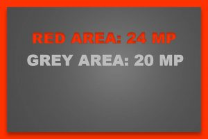 Image size comparison: 24 megapixel in red, 20 megapixel in grey. The visible red border is the difference.