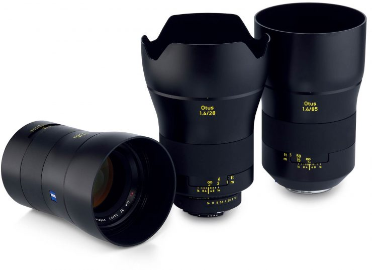 All three Zeiss Otus lenses, including the 55mm, the 28mm, and the 85mm (from left to right).