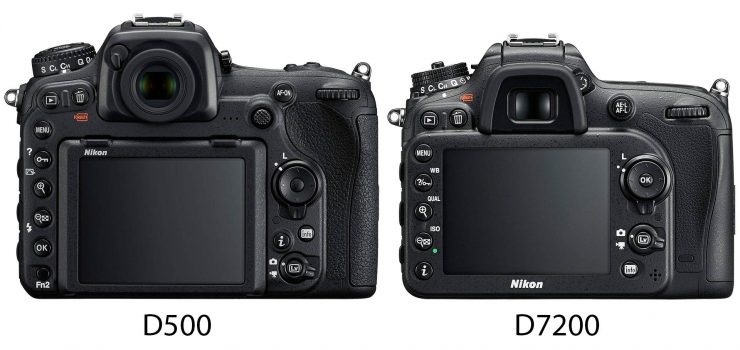 Nikon D500 and D7200, back view