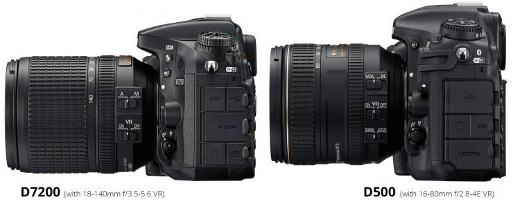 Side view of Nikon D7200 and D500