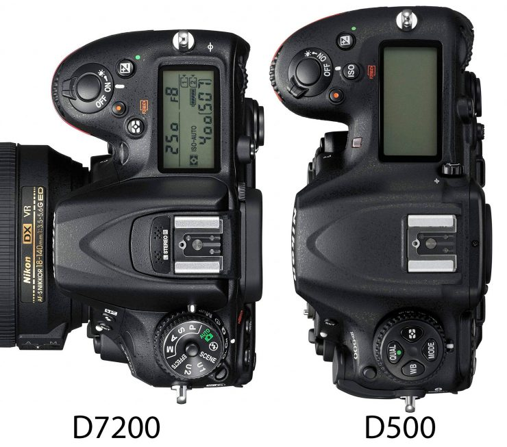 Nikon D500 and D7200 top view