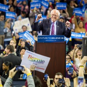 Bernie Sanders at his rally on March 20 at Key Arena in Seattle.