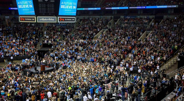 Key Arena was almost filled to capacity. Thousands of people were turned away.