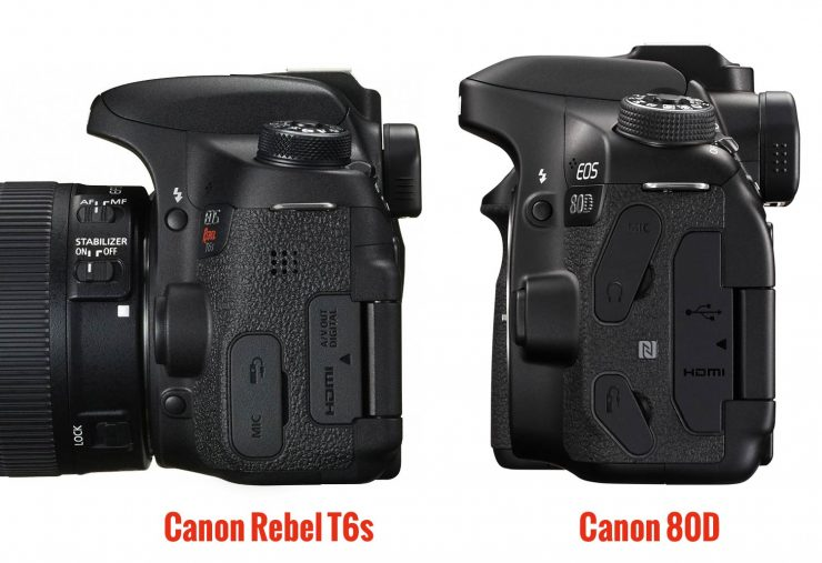 Side view of the Canons 80D and T6s, showing the 80D's headphone jack.