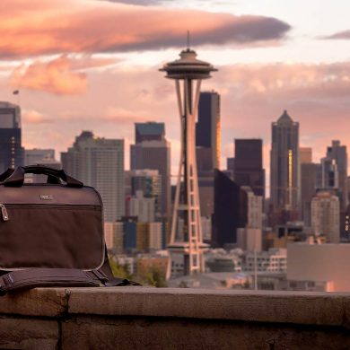 The ThinkTank Urban Disguise 40 Classic in front of the Seattle skyline