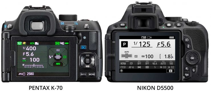 Pentax-K70-and-Nikon-D5500-back-controls