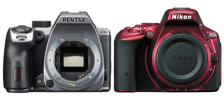 Color variants: the silver pentax k-70 and red nikon d5500