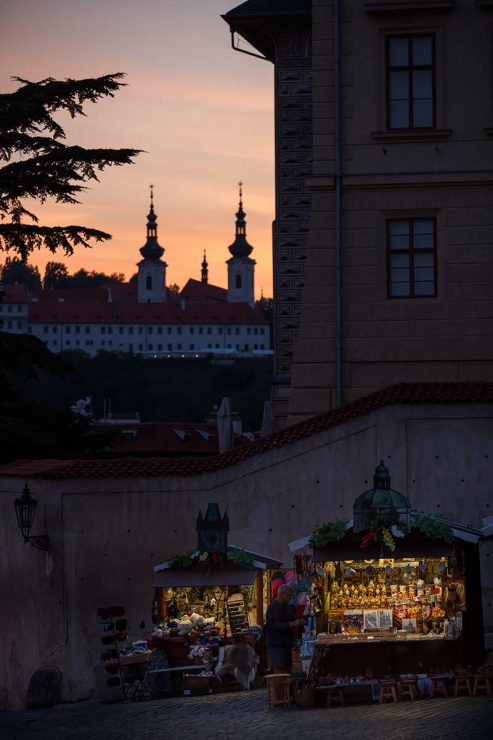 Prague Castle vendors shut down at sunset