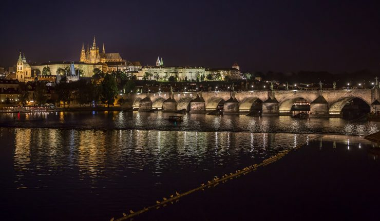 Seagulls, Charles Bridge, and Prague Castle