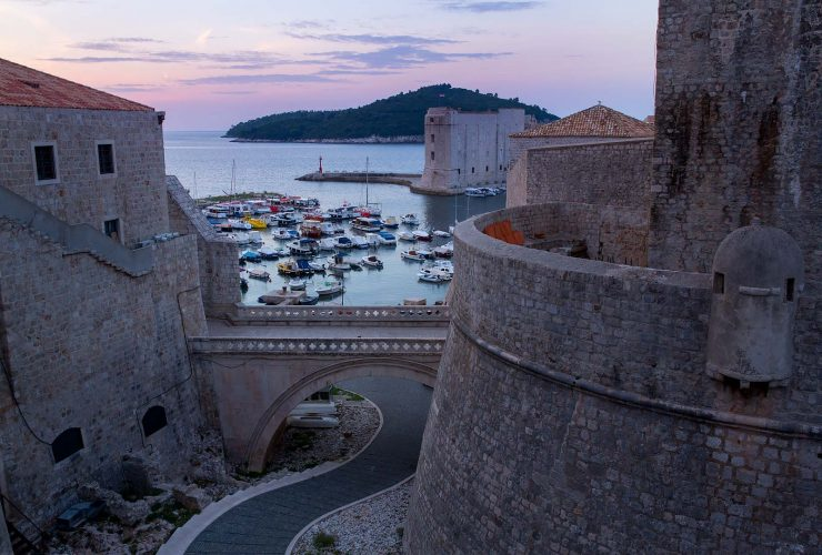 View between Dubrovnik's Ploce Gate and the City Wall