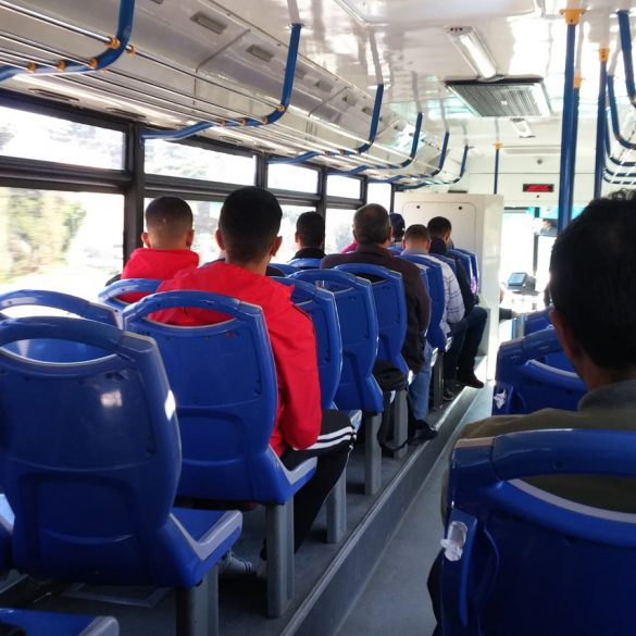 Interior shot of Bus to Tanger Med ferry port in Tangier