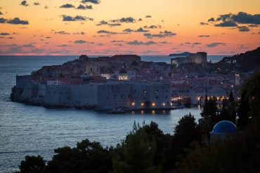 Dubrovnik at sunset from south of the city.