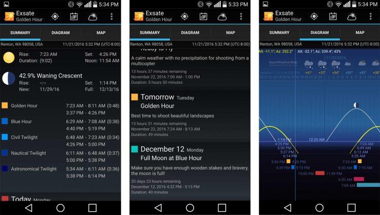 Three screenshots from Exsate Golden Hour.