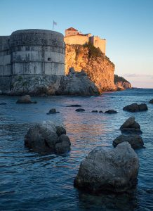 The old city walls of Dubrovnik from Pile Harbor.