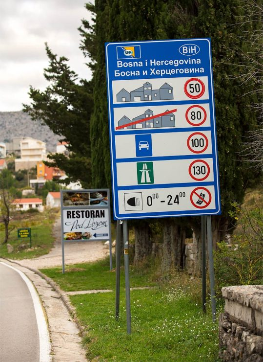 Sign on Bosnian side of the border.