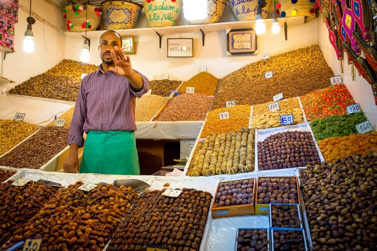 Marrakech dried fruit vendor