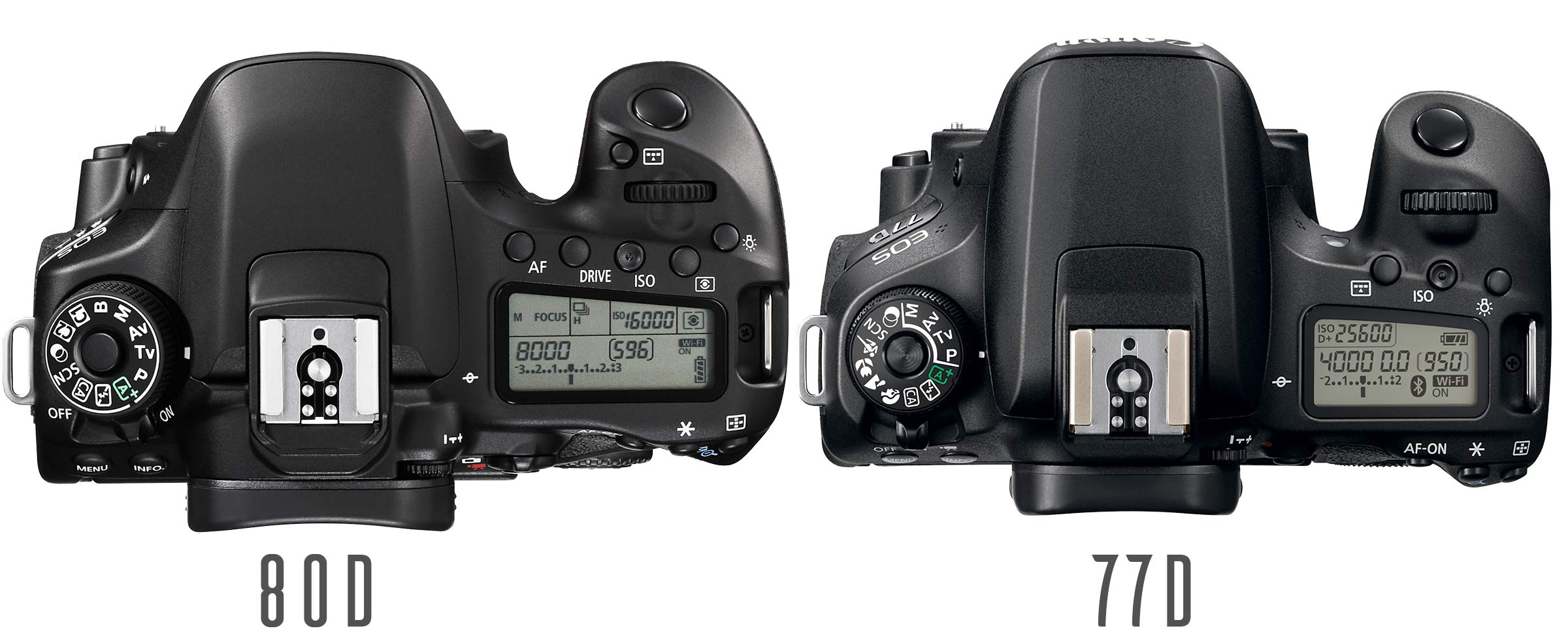 The 77D and 80D both have a camera top LCD display although they don t display exactly the same information