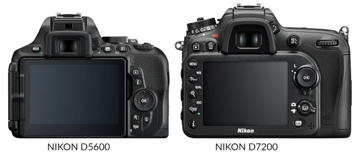 Back view of Nikon D5600 and D7200